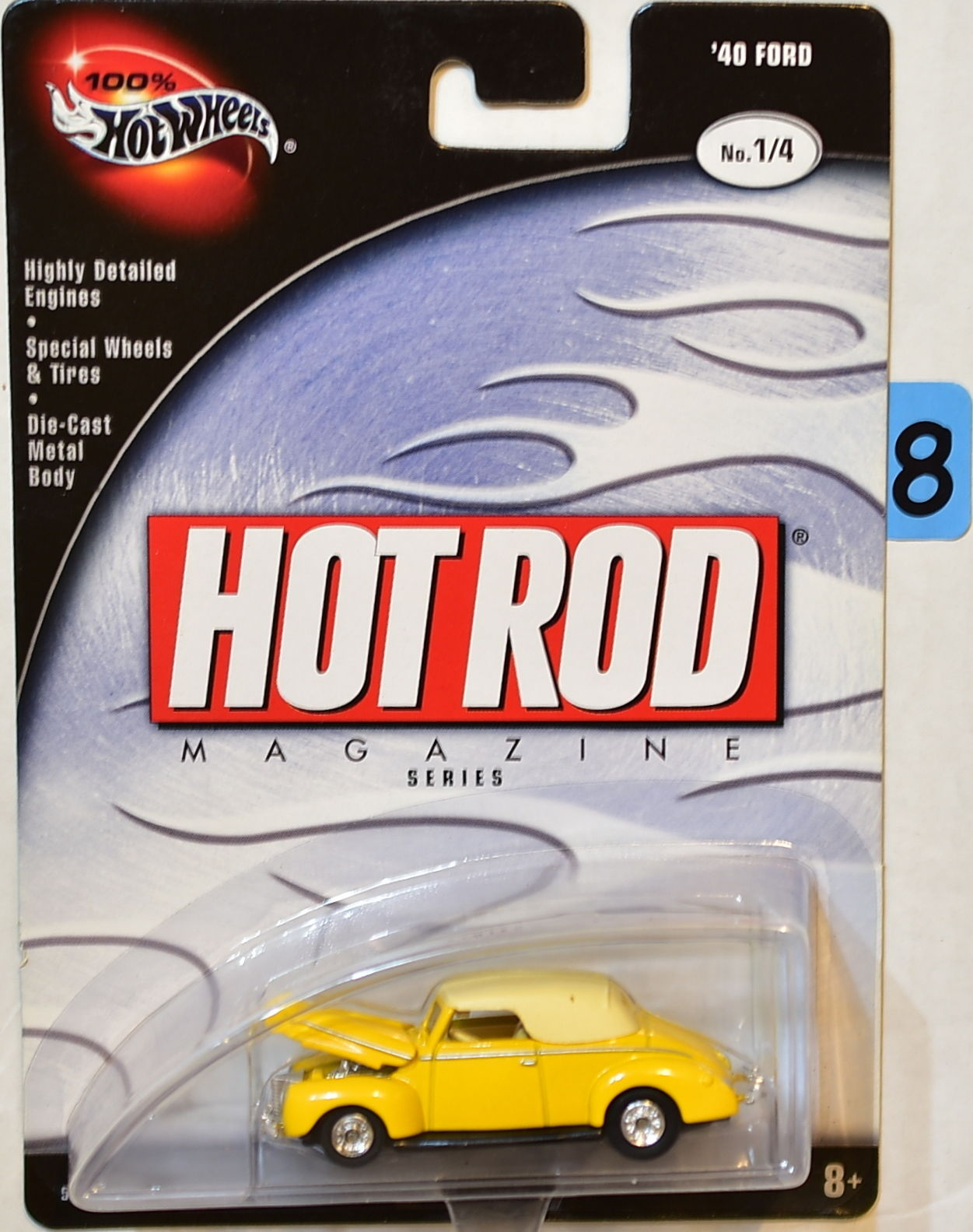 HOT WHEELS 100% HOT ROD MAGAZINE SERIES '40 FORD #1/4 YELLOW