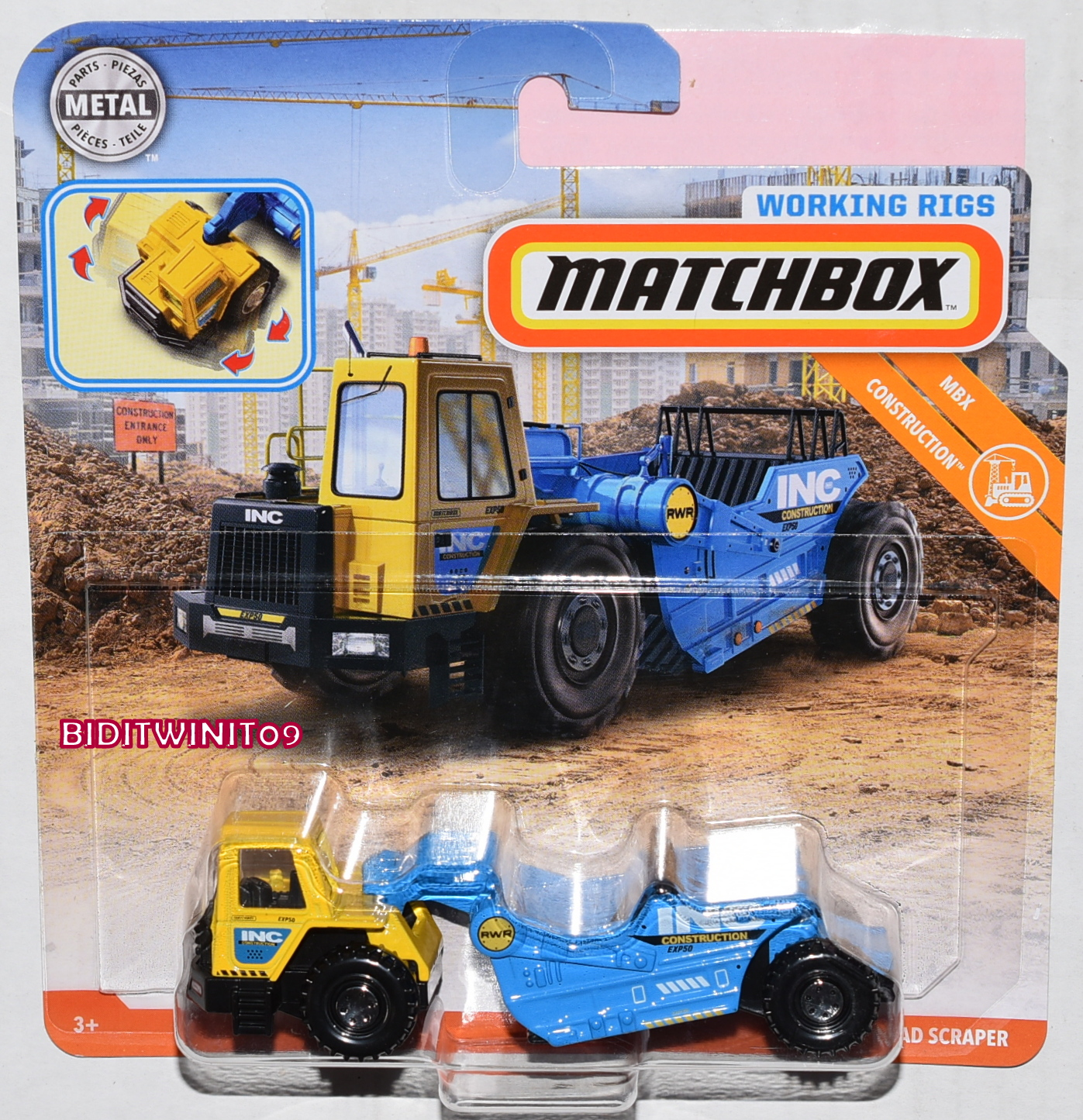 MATCHBOX 2019 WORKING RIGS MBX CONSTRUCTION ROAD SCRAPER E+
