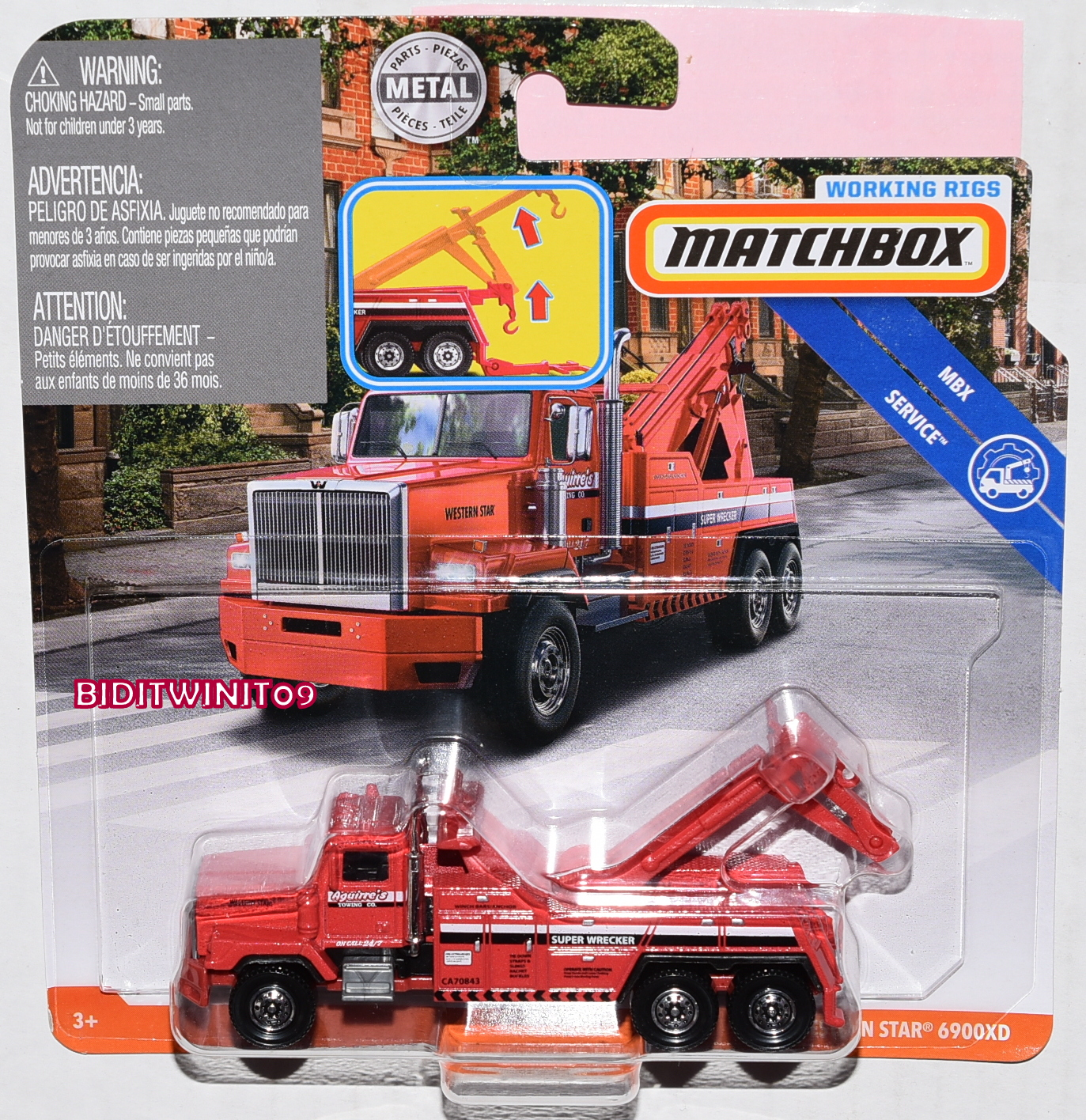 MATCHBOX 2019 WORKING RIGS MBX SERVICE WESTERN STAR 6900XD RED