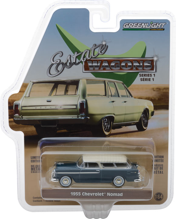 GREENLIGHT ESTATE WAGON 1955 CHEVROLET NOMAD GLACIER AND SHORELINE BEIGE 1:64