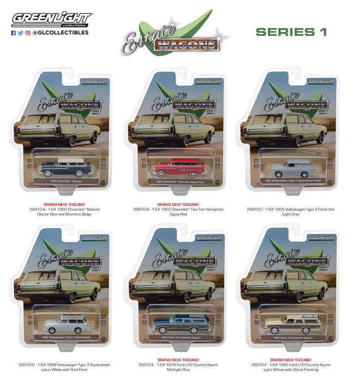 GREENLIGHT ESTATE WAGON SERIES 1 SET OF 6 IN STOCK