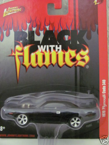 JOHNNY LIGHTNING 1970 PLYMOUTH CUDA 340 BLACK W/ FLAMES!