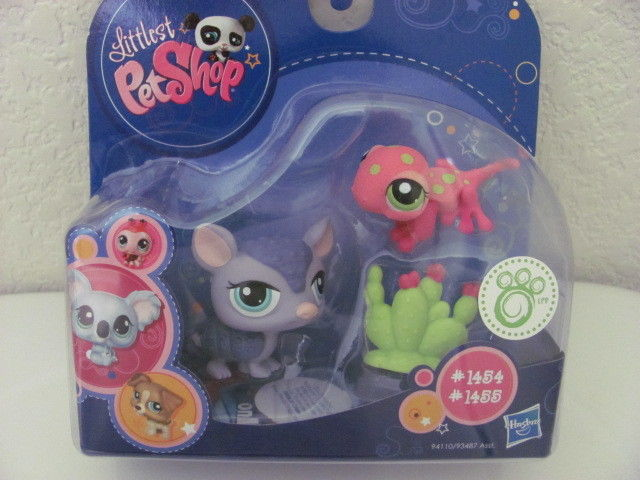 LITTLEST PET SHOP #1454 ARMADILLO & #1455 PINK GECKO - Click Image to Close