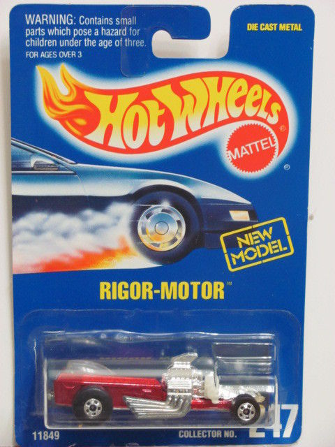 HOT WHEELS 1992 BLUE CARD RIGOR - MOTOR #247 RED