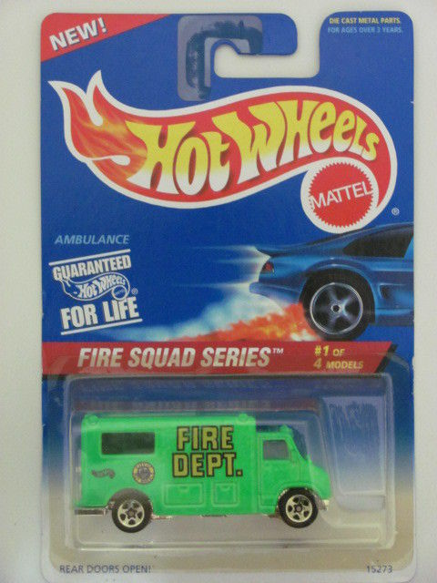 HOT WHEELS 1995 FIRE SQUAD SERIES AMBULANCE W/ 5 SPK