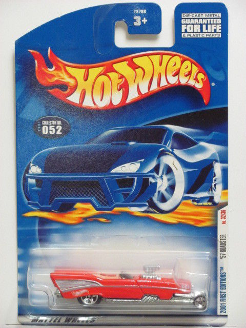 HOT WHEELS 2001 FIRST EDITIONS '57 ROADSTER #052 W/ 5 SP WHEELS