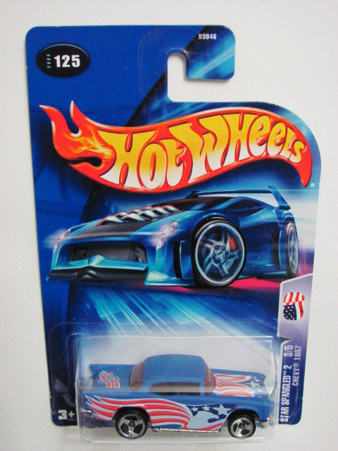 HOT WHEELS 2004 STAR SPANGLED 2 CHEVY 1957 #125 BLUE