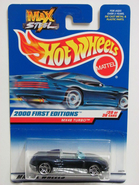 HOT WHEELS 2000 FIRST EDITIONS MX48 TURBO #080 MAX STEEL BLUE