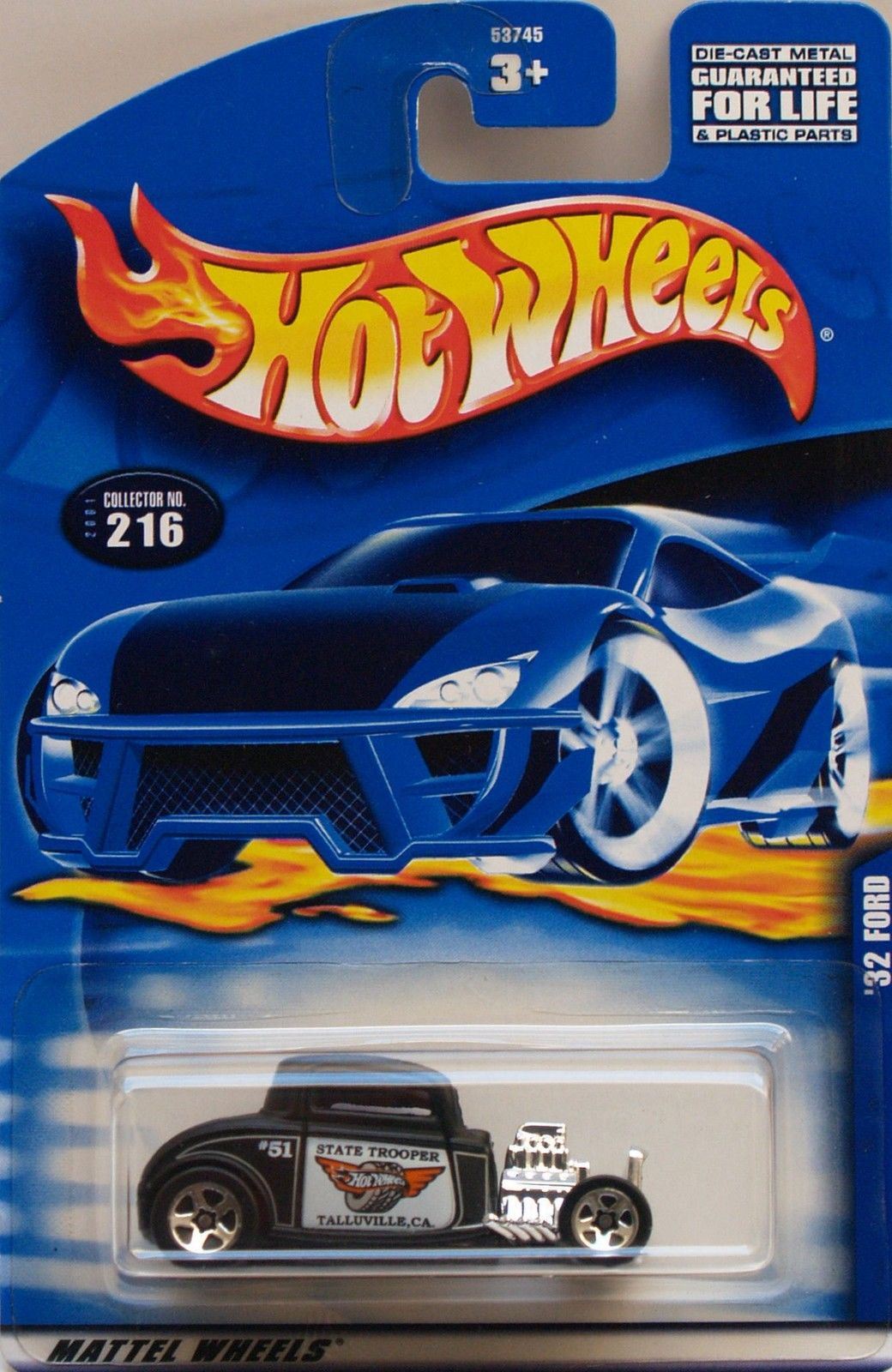 HOT WHEELS 2001 #51 STATE TROOPER '32 FORD #216