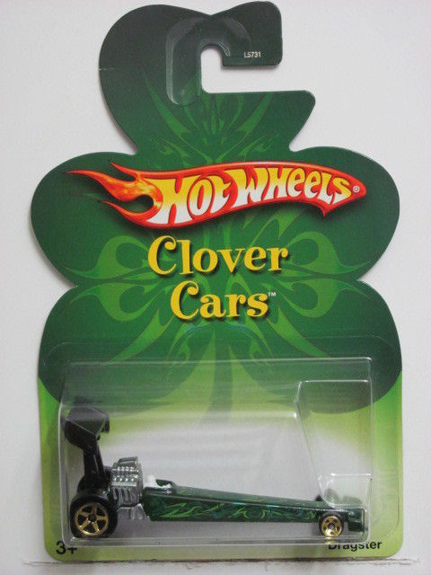 HOT WHEELS 2007 CLOVER CARS DRAGSTER GREEN