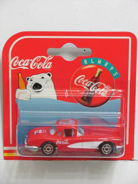 COCA COLA POLAR BEAR MAJORETTE CHEVROLET CORVETTE 58 RED