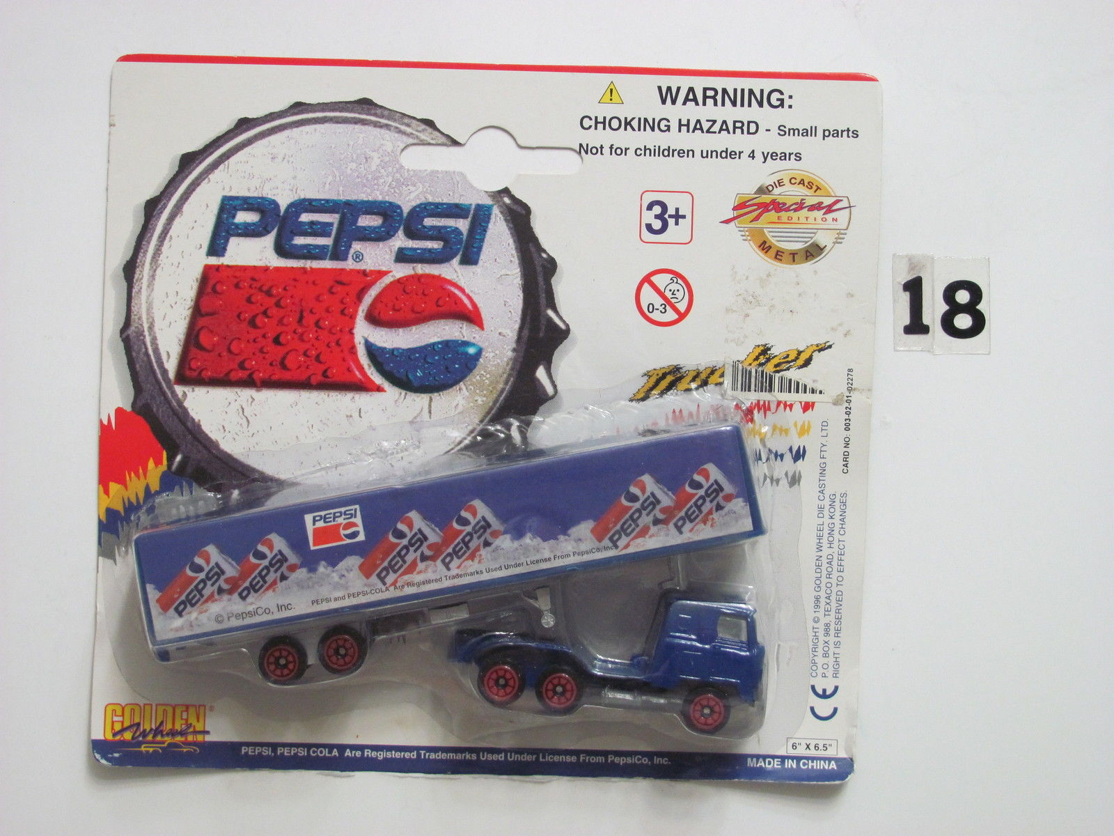 PEPSI DIE CAST METAL SPECIAL EDITION GOLDEN WHEELS TRAILER W/ DETACHABLE TRACTOR