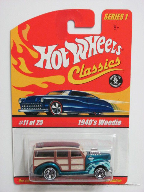 HOT WHEELS CLASSICS SERIES 1 #11/25 1940's WOODIE TURQUOISE