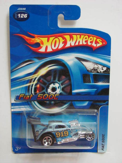 HOT WHEELS 2006 FIAT 500C #126 BLUE