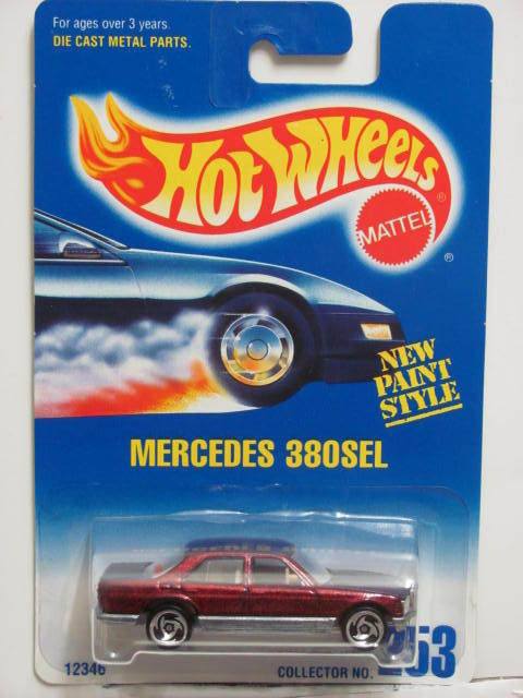 HOT WHEELS 1991 BLUE CARD #253 MERCEDES 380SEL W/ SAWBLADE WHEELS