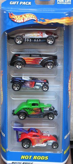 HOT WHEELS GIFT PACK HOT RODS FORD FIAT 5 CAR PACK