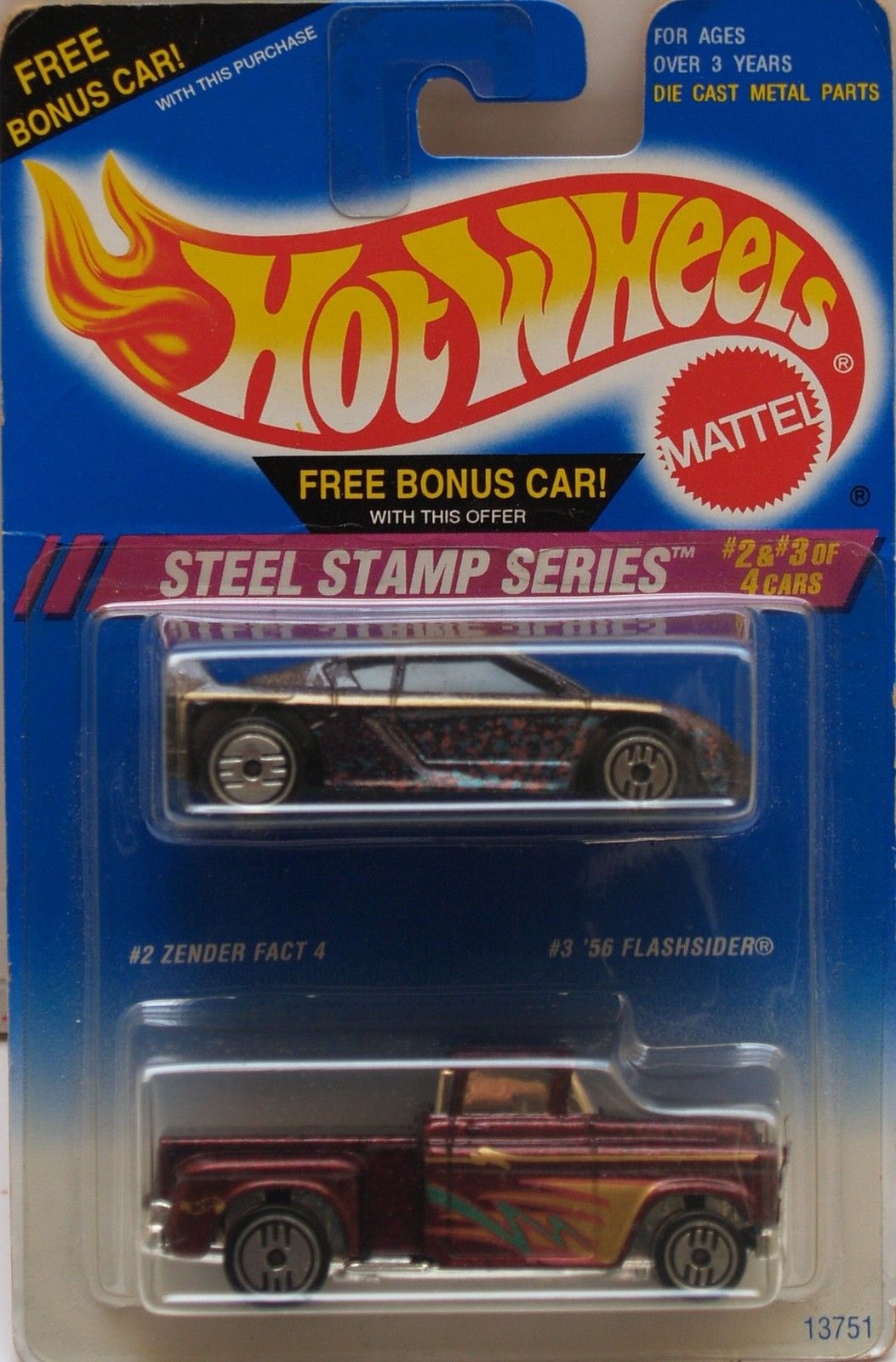 1994 HOT WHEELS - STEEL STAMP SERIES - CARS #2 & #3 - 2 CAR PACK