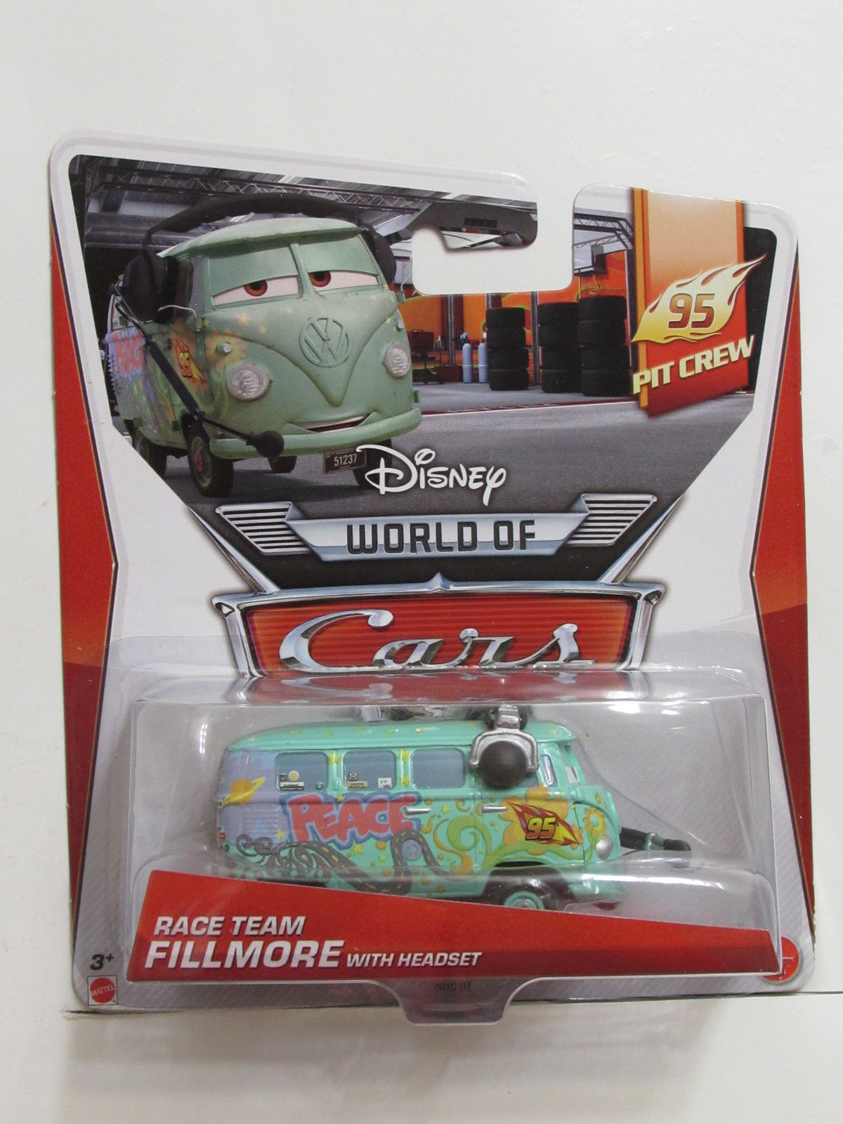 DISNEY PIXAR CARS PIT CREW RACE TEAM FILLMORE WITH HEADSET