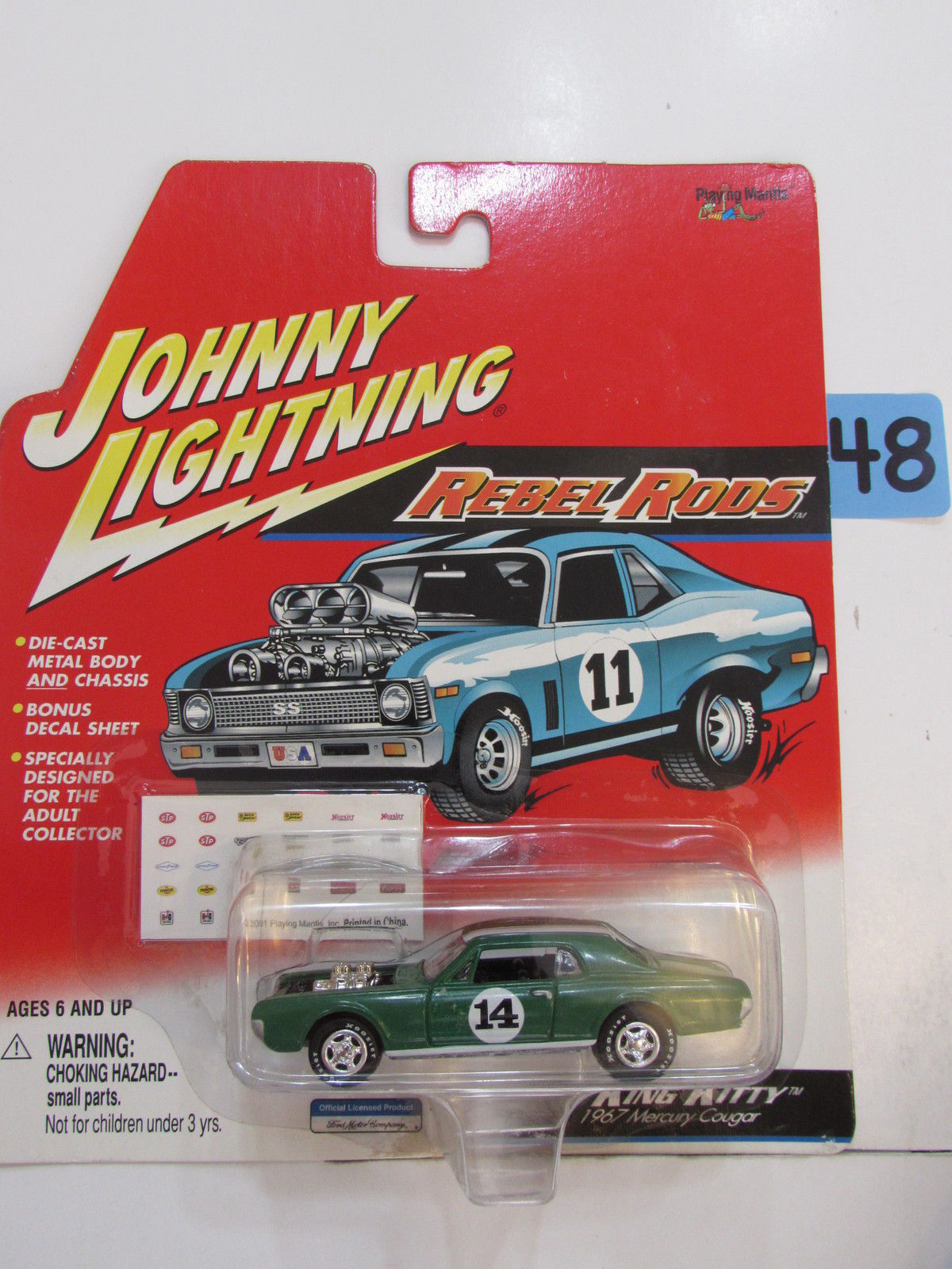 JOHNNY LIGHTNING 2001 - REBEL RODS - KING KITTY - GREEN 1967 MERCURY COUGAR - Click Image to Close
