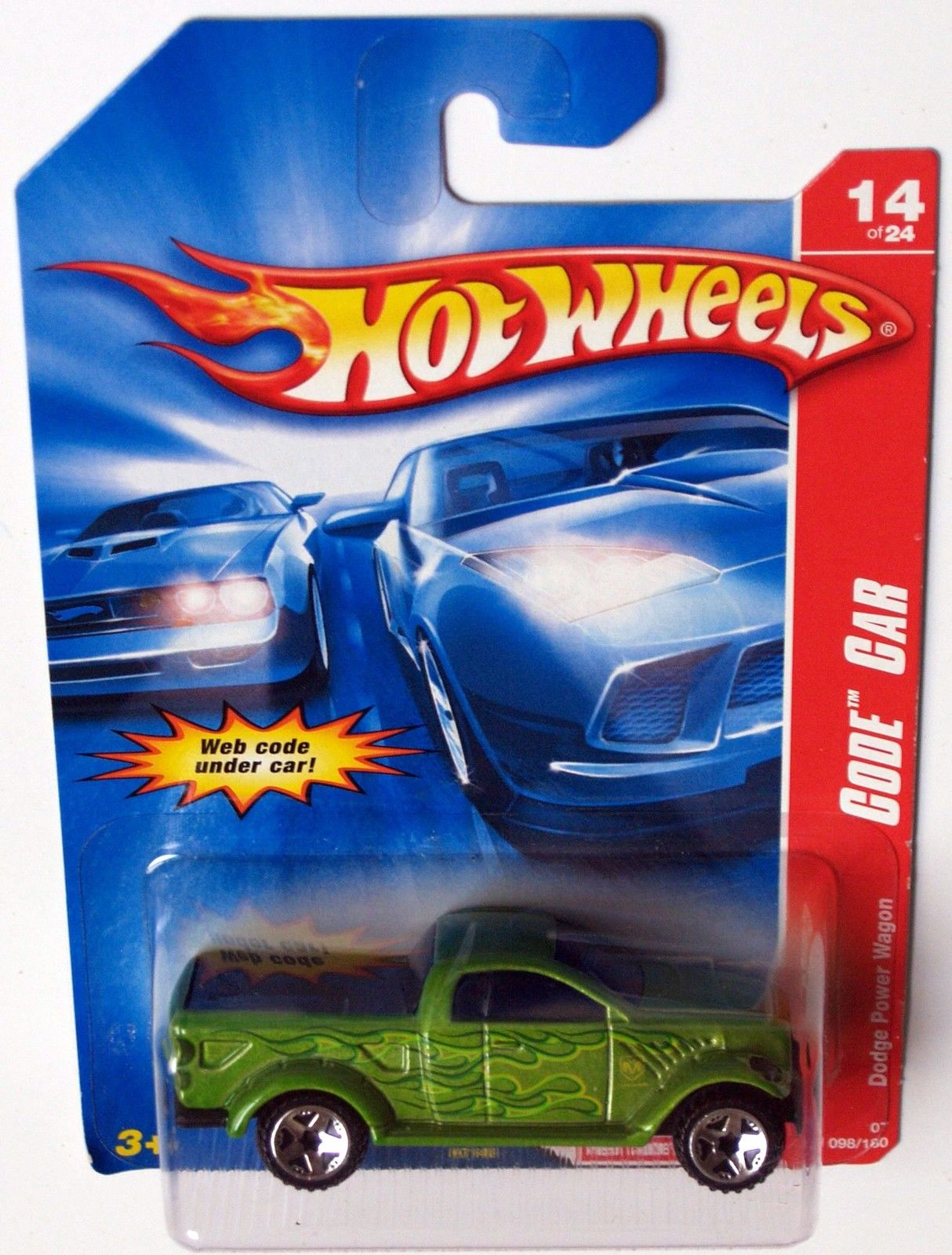 HOT WHEELS 2007 CODE CAR DODGE POWER WAGON GREEN