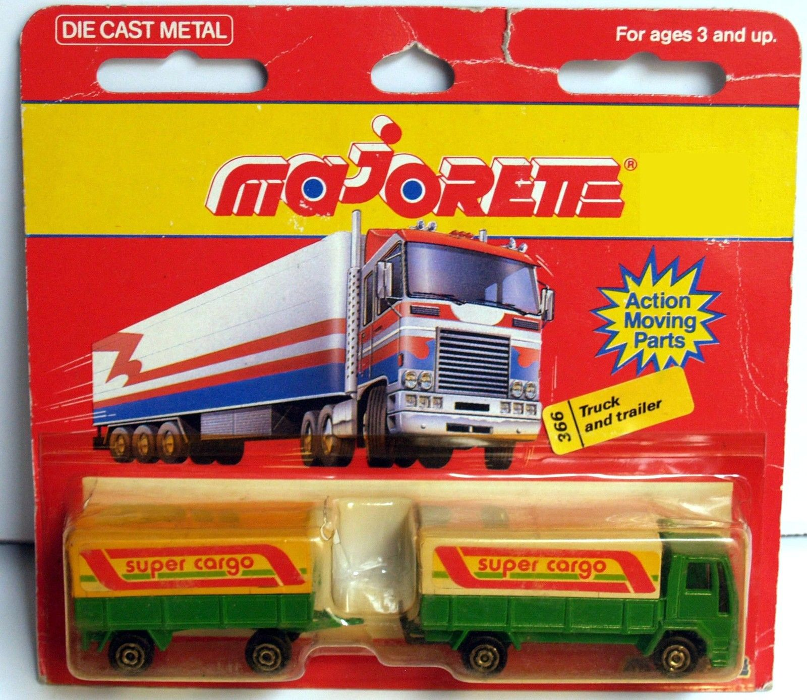 MAJORETTE FRANCE TRUCK & TRAILER #366 GREEN