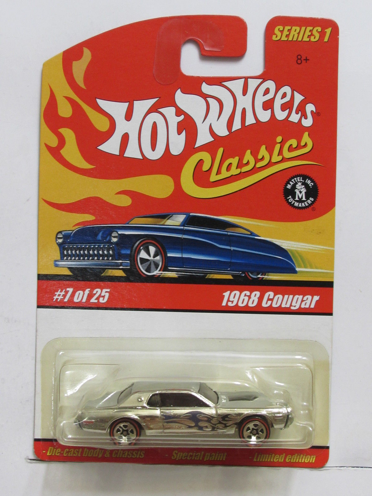 HOT WHEELS CLASSICS SERIES 1 #7/25 1968 COUGAR CHROME