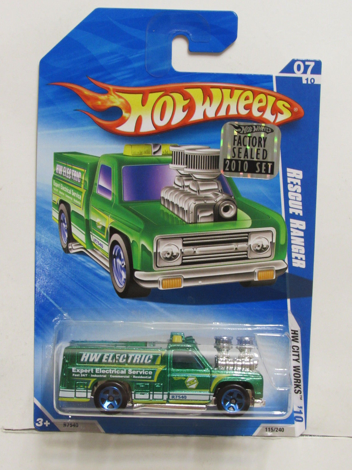 HOT WHEELS 2010 HW CITY WORKS RESCUE RANGER GREEN FACTORY SEALED