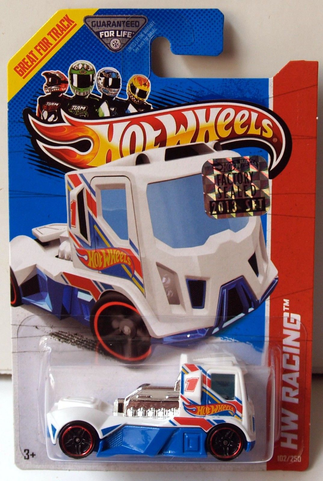 HOT WHEELS 2013 HW RACING - HW RACE TEAM RENNEN RIG WHITE FACTORY SEALED