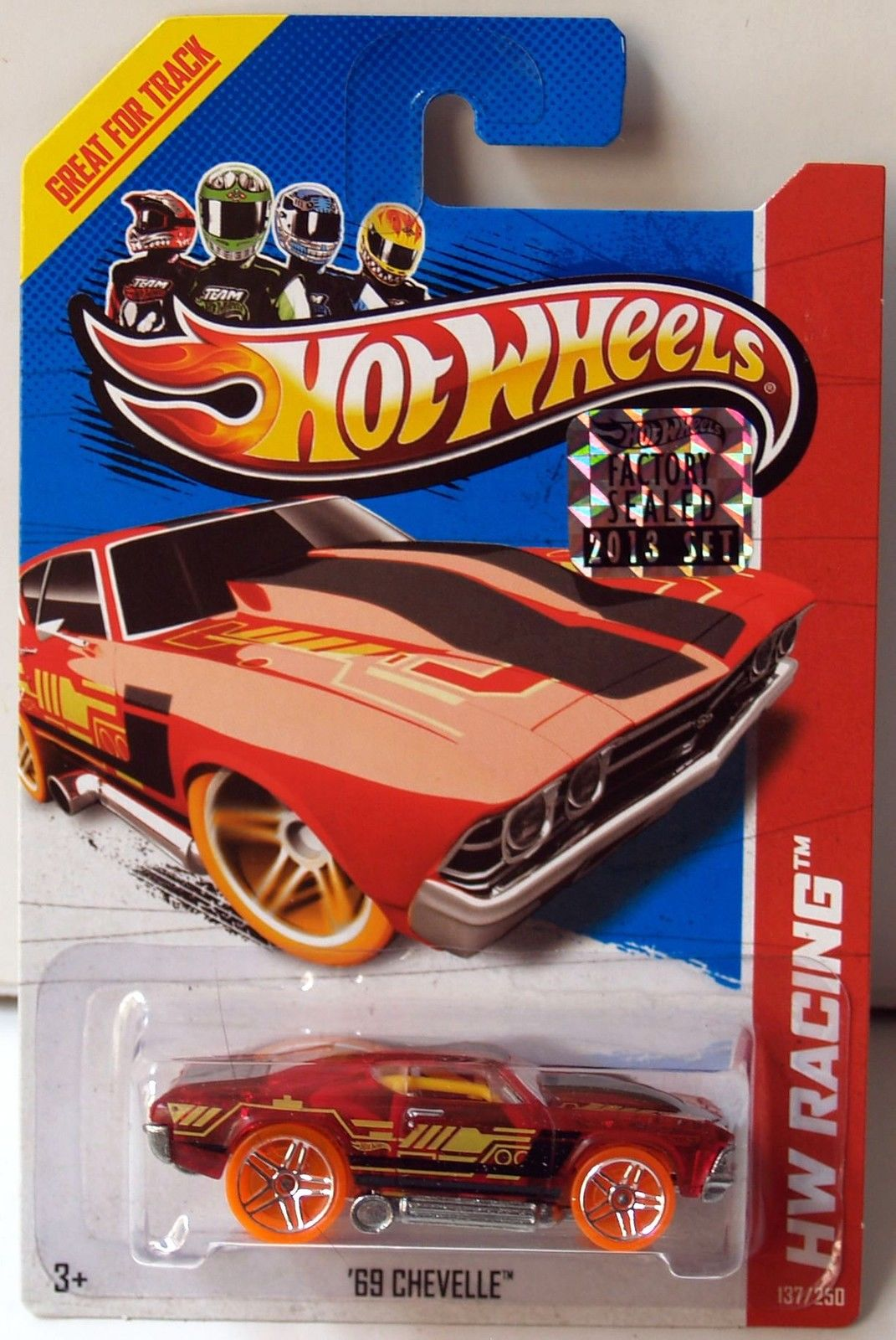 HOT WHEELS 2013 HW RACING X-RAYCERS '69 CHEVELLE RED FACTORY SEALED