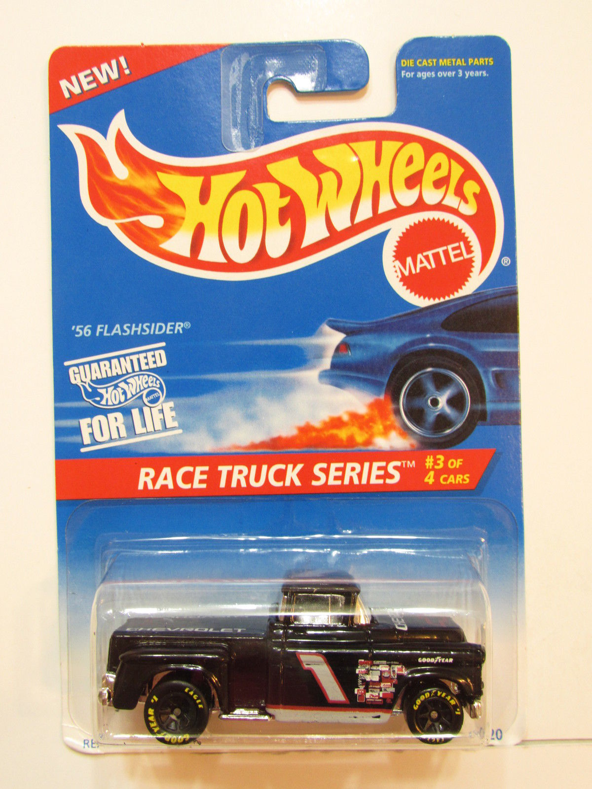 HOT WHEELS 1995 RACE TRUCK SERIES '56 FLASHSIDER BLACK TAMPO ERROR E+