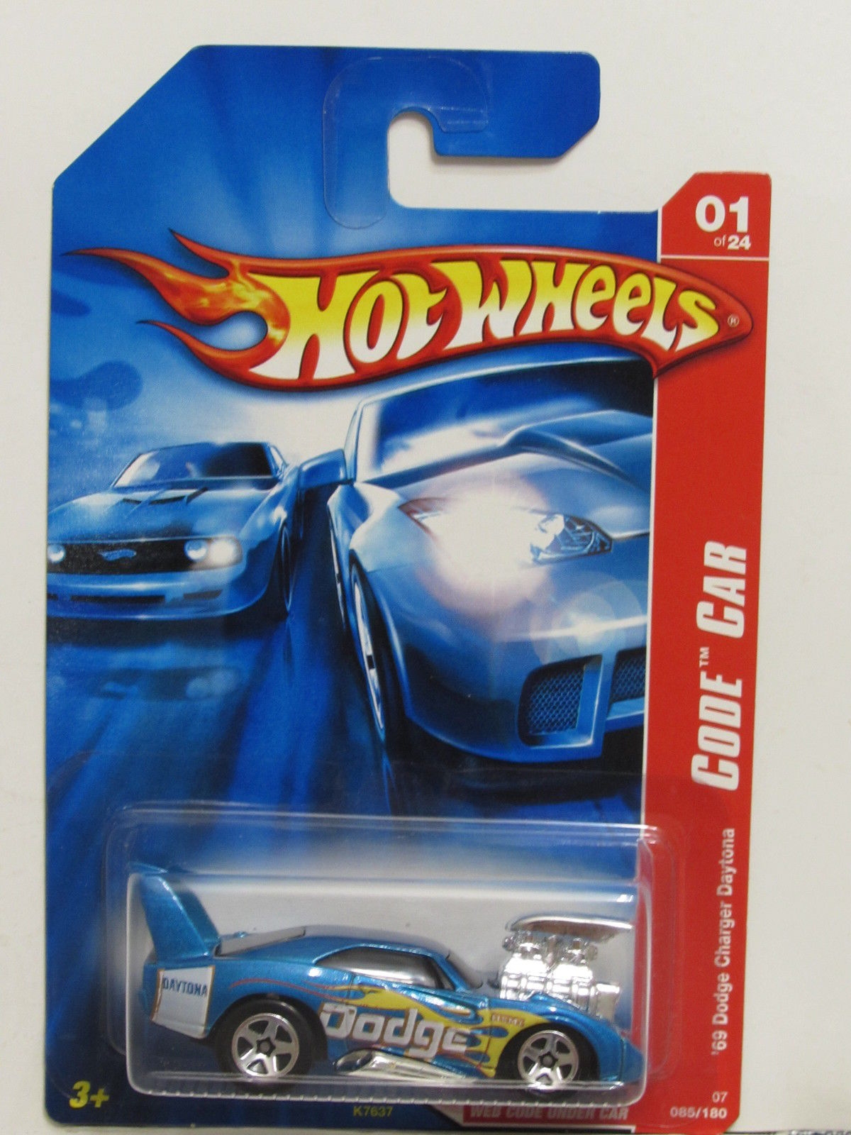 HOT WHEELS 2007 CODE CAR '69 DODGE CHARGER DAYTONA BLUE - Click Image to Close