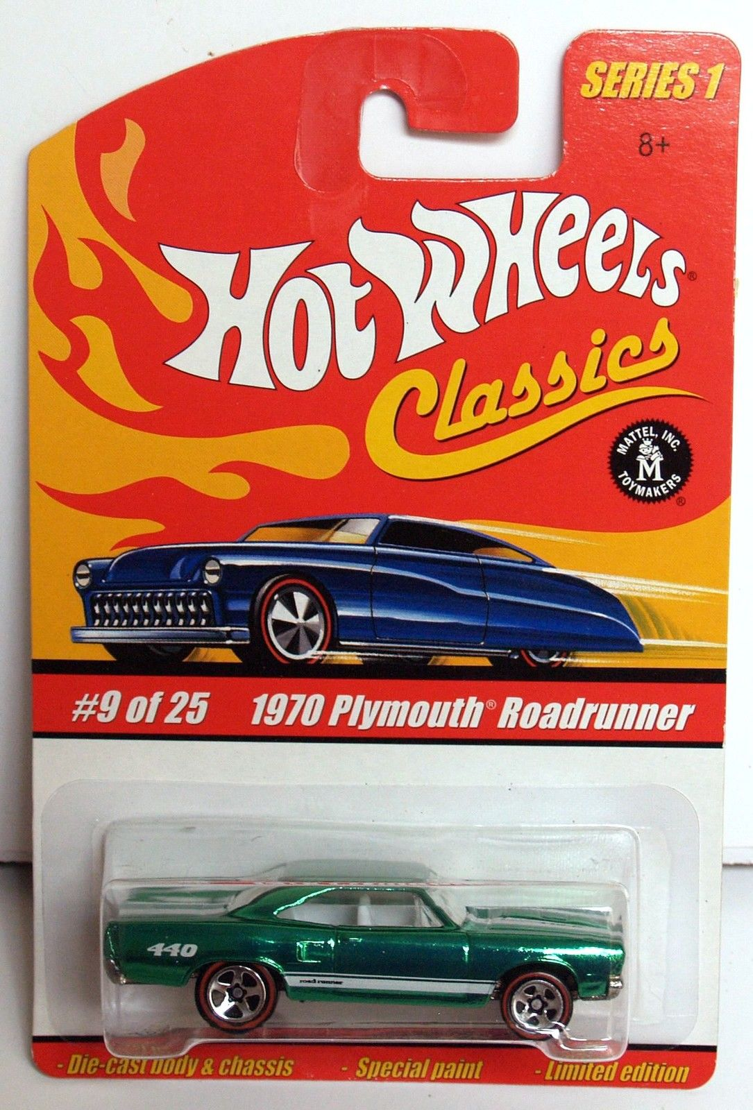 HOT WHEELS CLASSICS SERIES 1 #9/25 1970 PLYMOUTH ROADRUNNER GREEN