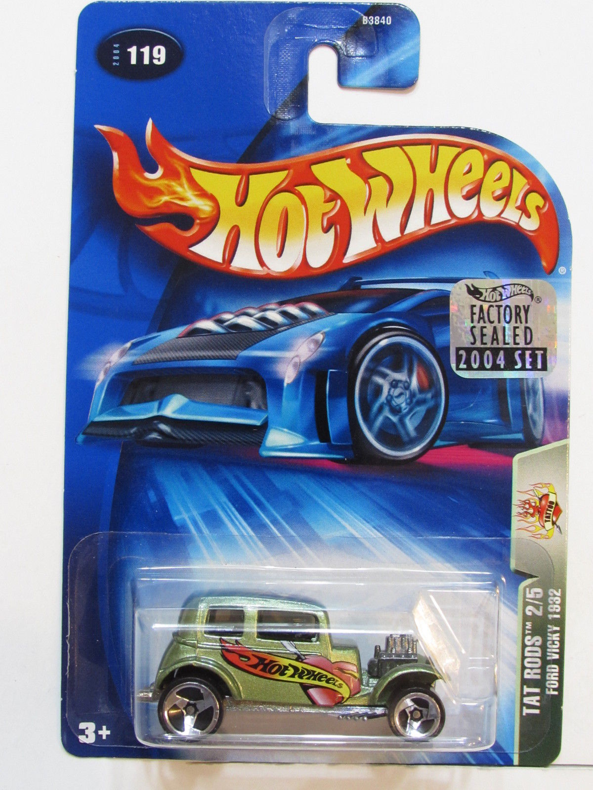 HOT WHEELS 2004 TAT RODS FORD VICKY 1932 #119 FACTORY SEALED
