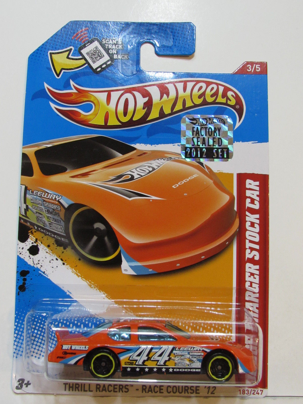 HOT WHEELS 2012 THRILL DODGE CHARGER STOCK CAR FACTORY SEALED