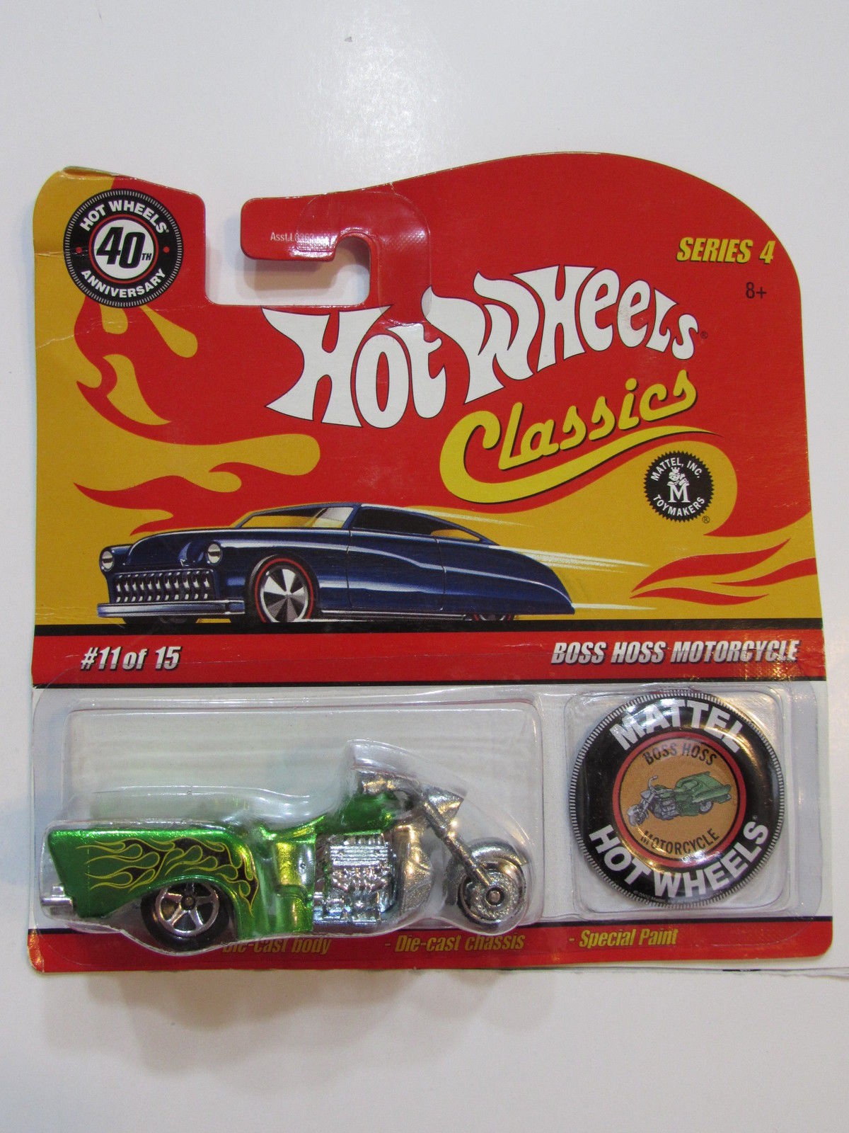HOT WHEELS CLASSICS #4 #11/15 BOSS HOSS MOTORCYCLE GREEN W/ BUTTON