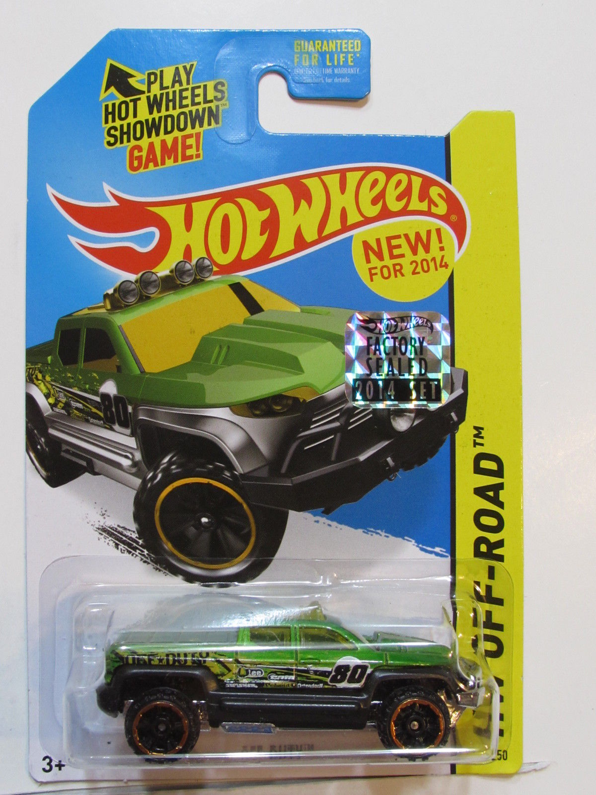 HOT WHEELS 2014 HW RACE OFF - DUTY FACTORY SEALED GREEN