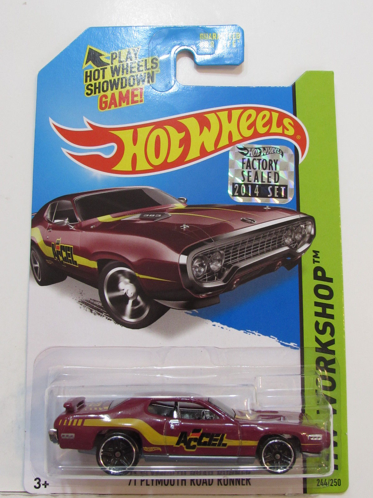 HOT WHEELS 2014 HW WORKSHOP '71 PLYMOUTH ROAD RUNNER FACTORY SEALED