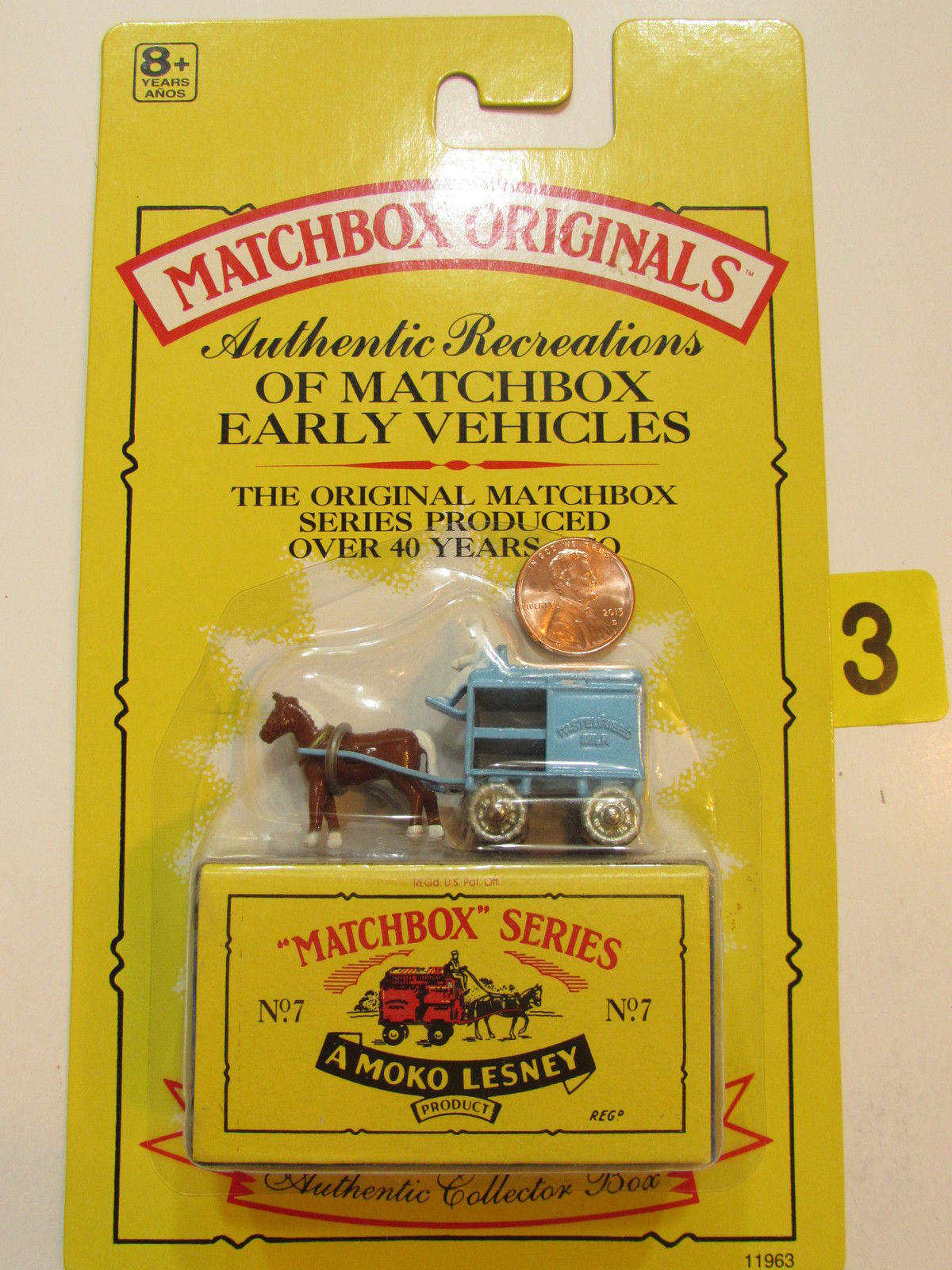 MATCHBOX 1991 ORIGINALS NO.07 HORSE DRAWN MILK FLOAT - AMOKO LESNEY AUTHENTIC