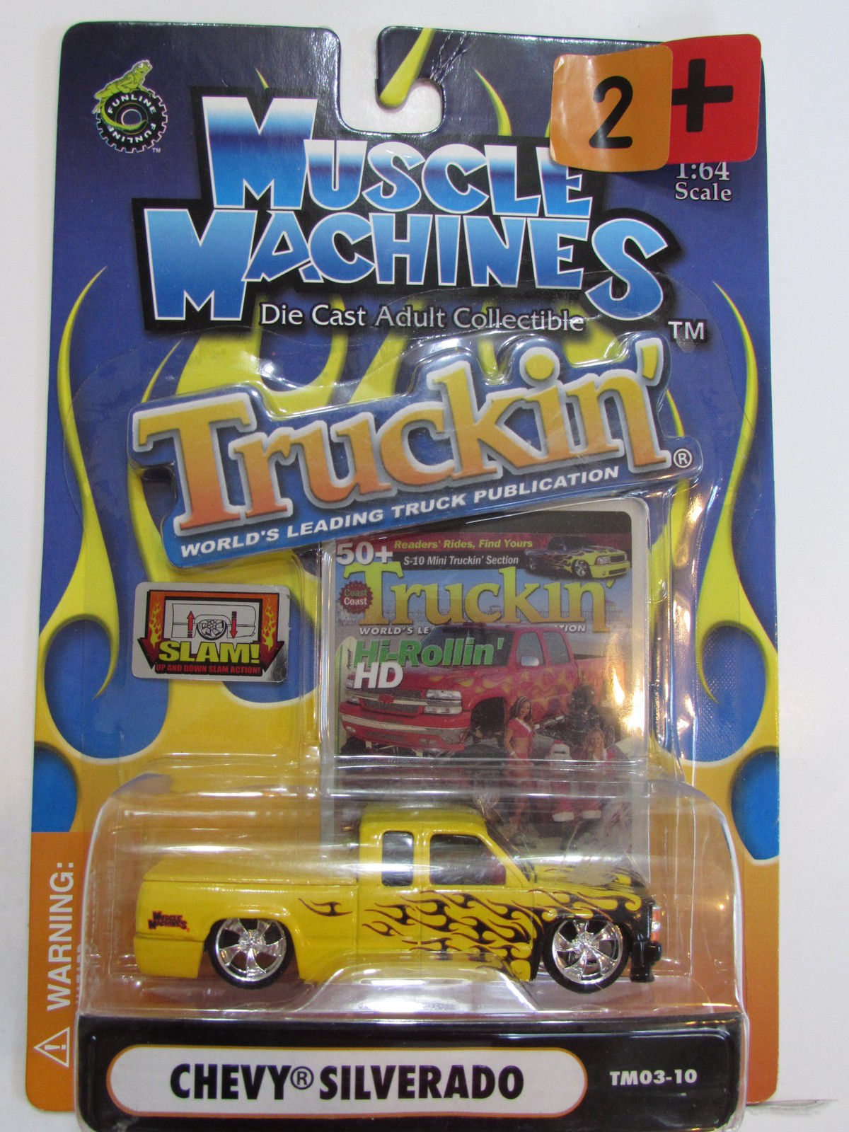 MUSCLE MACHINES TRUCKIN' CHEVY SILVERADO SCALE 1:64