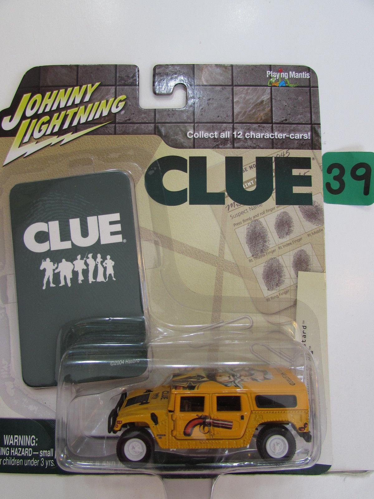 JOHNNY LIGHTNING 2004 CLUE - COLONEL MUSTARD HUMMER H1 WHITE LIGHTNING