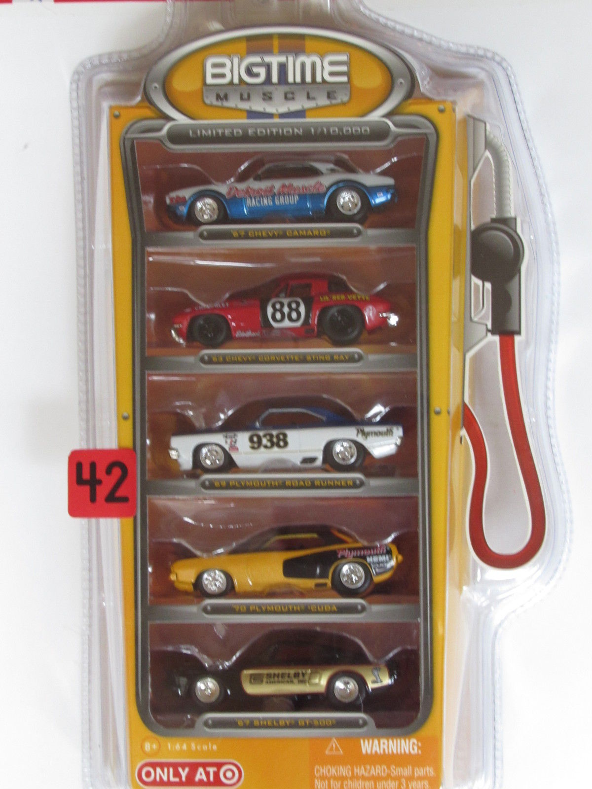 JADA TOYS BIG TIME MUSCLE 5 CAR PACK - CAMARO - CORVETTE - PLYMOUTH - SHELBY E+ - Click Image to Close