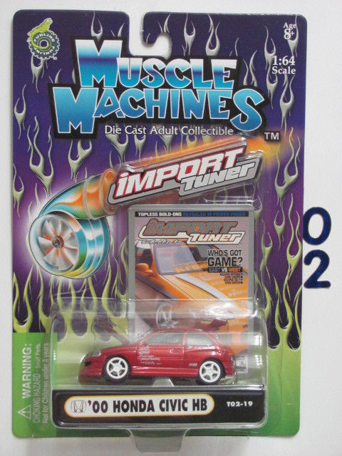 MUSCLE MACHINES IMPORT TUNER '00 HONDA CIVIC HB T02-19 RED 1:64 SCALE
