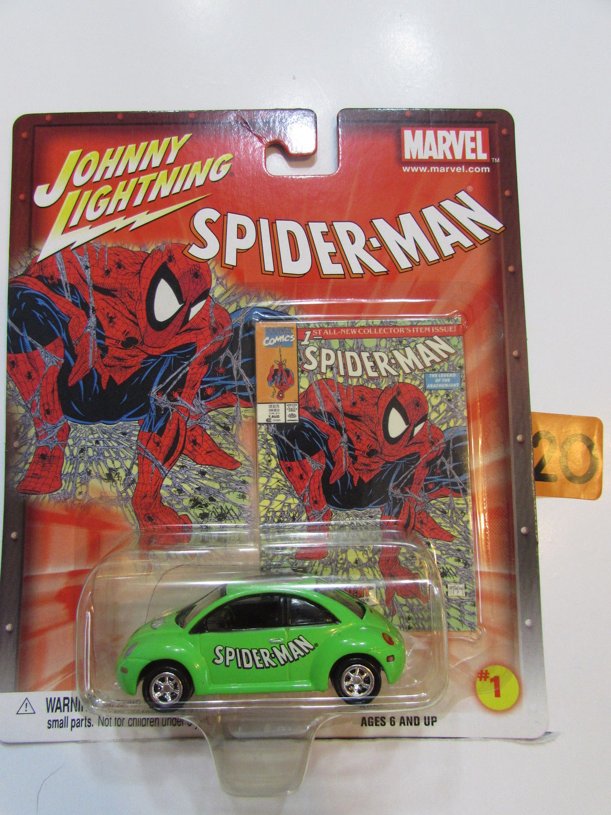 JOHNNY LIGHTNING MARVEL SPIDERMAN - '98 VW BEETLE #1 GREEN