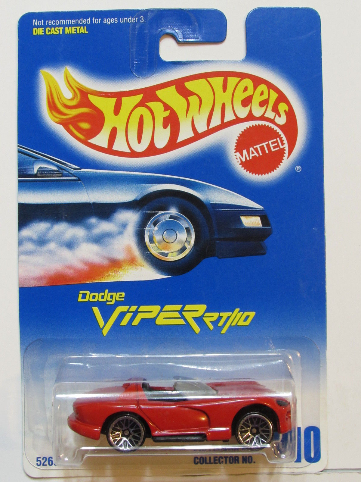 HOT WHEELS 1991 BLUE CARD DODGE VIPER RT/10 #210 RED