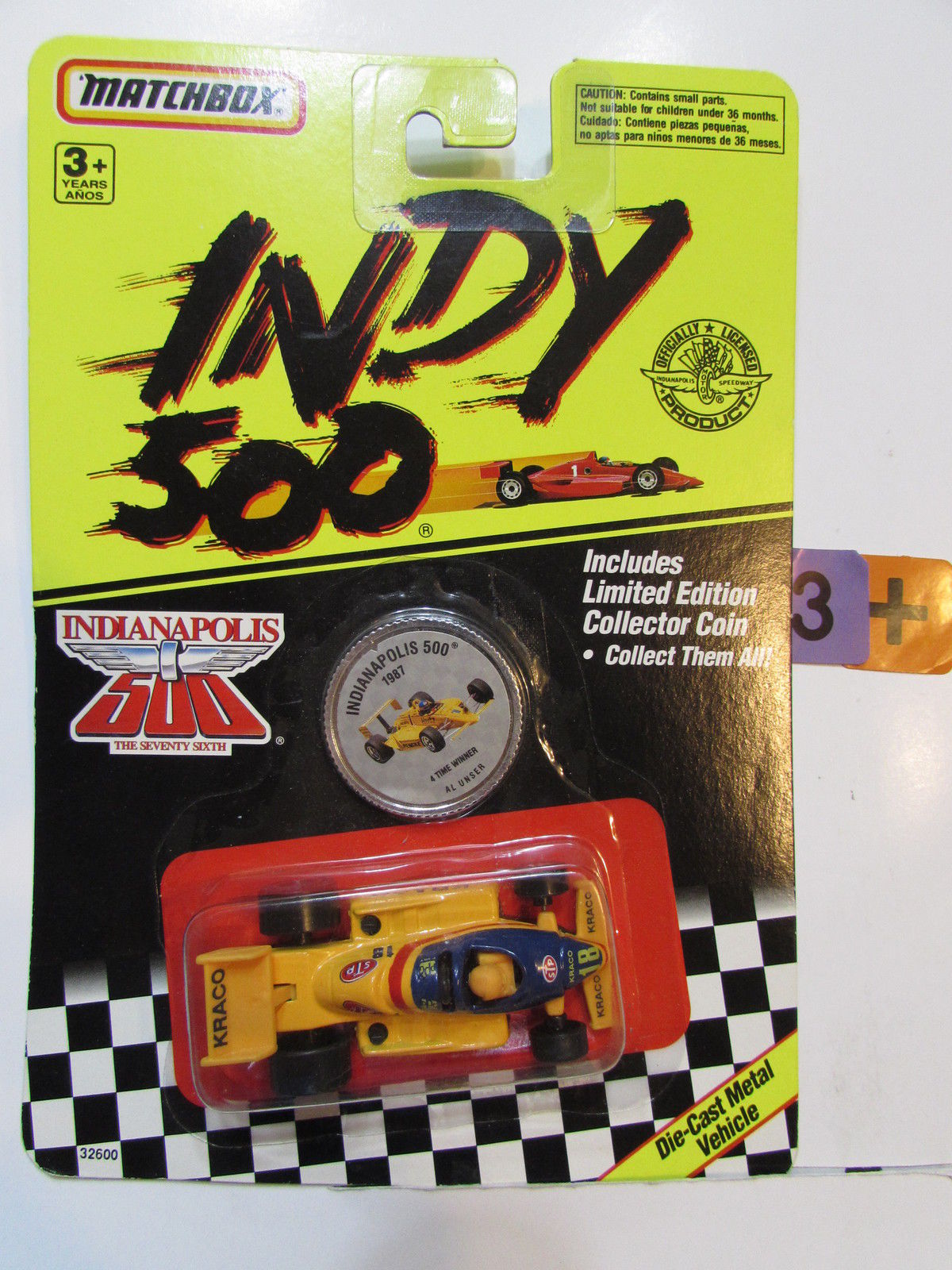 MATCHBOX 1991 INDY 500 1987 4 TME WINNER AL USNER W/ COLLECTOR COIN