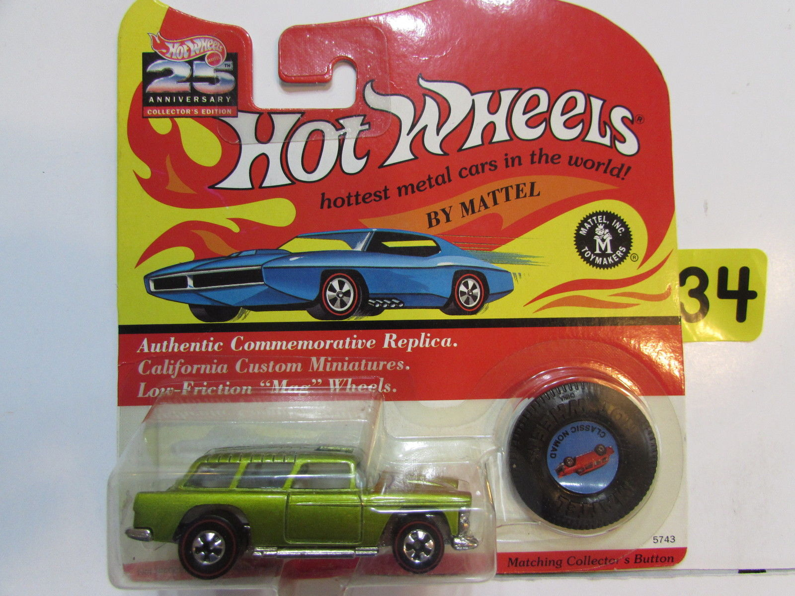 HOT WHEELS 1992 25TH ANNIVERSARY COLL EDITION - CLASSIC NOMAD W/ BUTTON