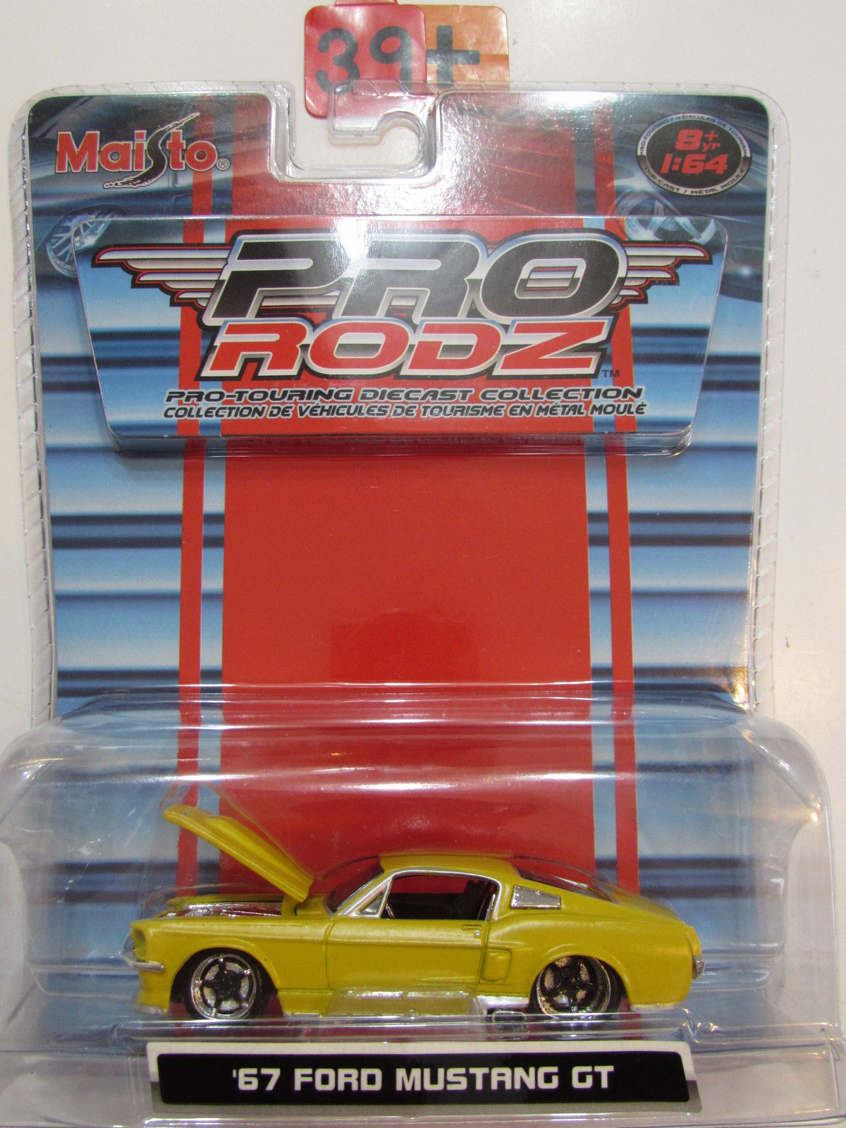 MAISTO PRO RODZ - '67 FORD MUSTANG GT YELLOW SCALE 1:64