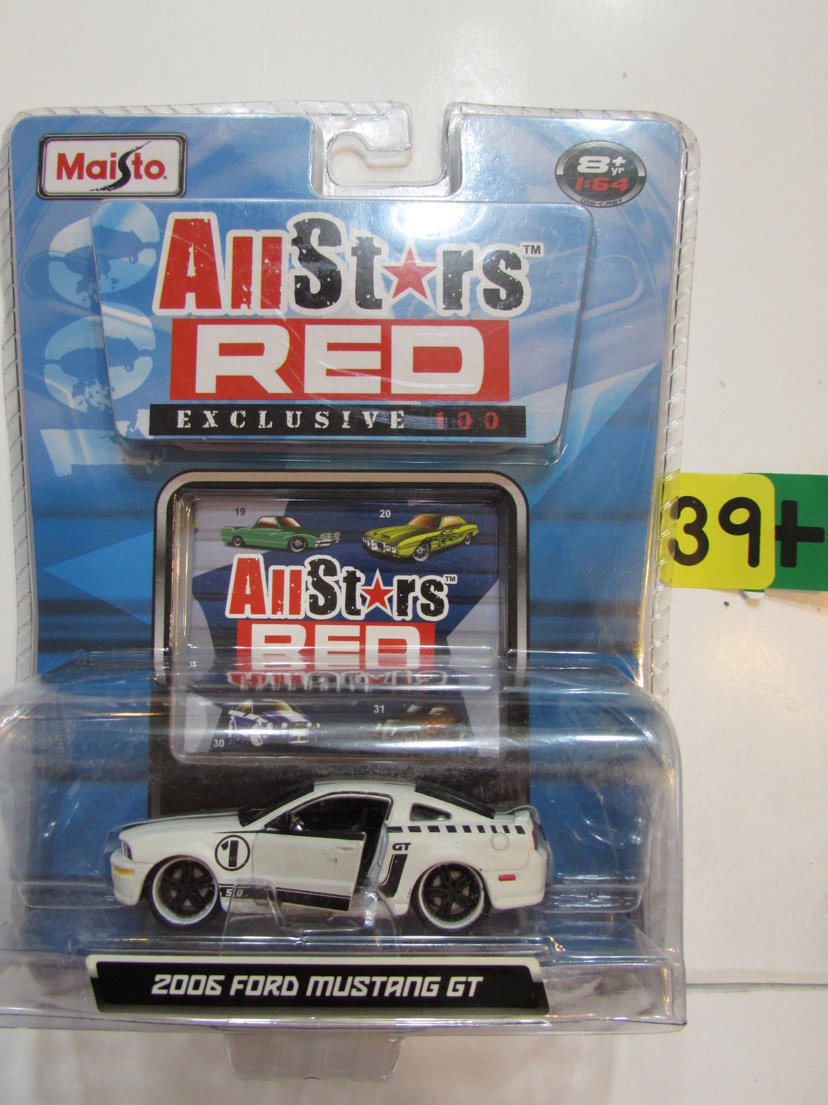 MAISTO ALLSTARS RED EXCLUSIVE 100 - 2006 FORD MUSTANG GT WHITE