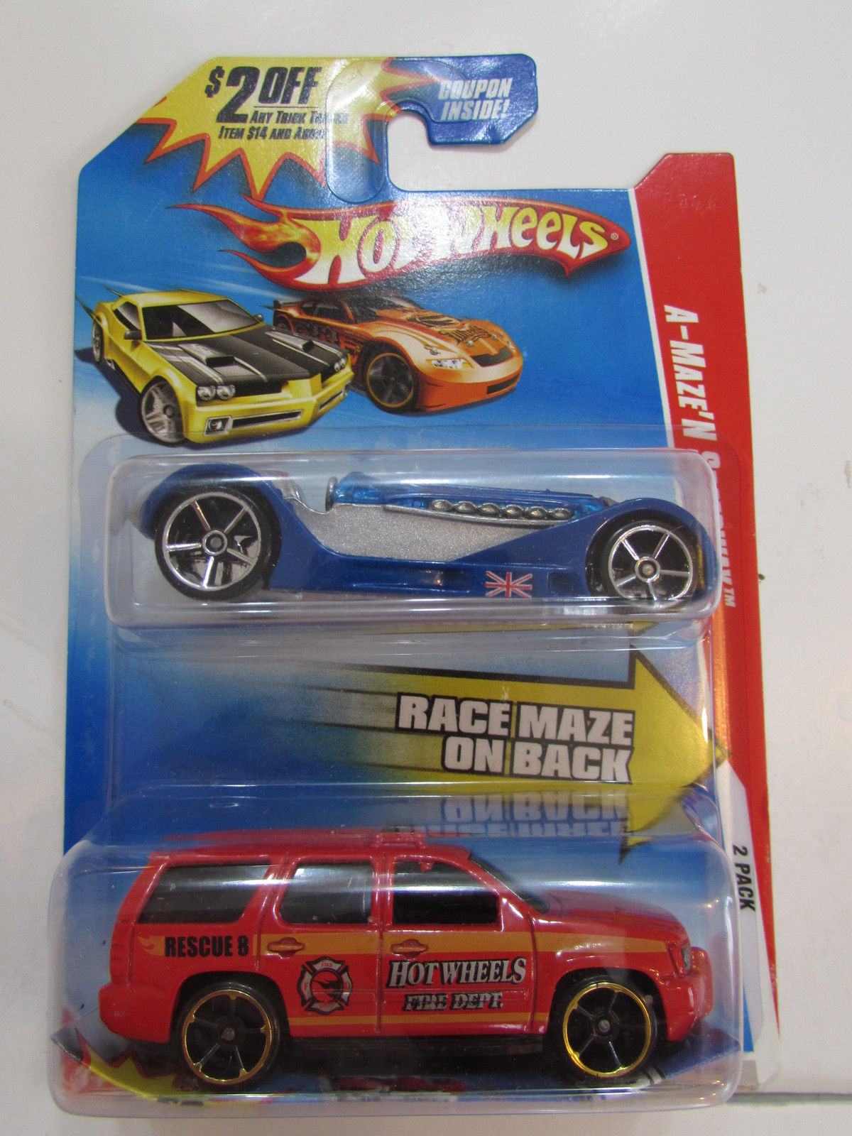 HOT WHEELS A-MAZE'N SPEEDWAY 2 CAR PACK BRIT SPEED - CHEVY TRUCK