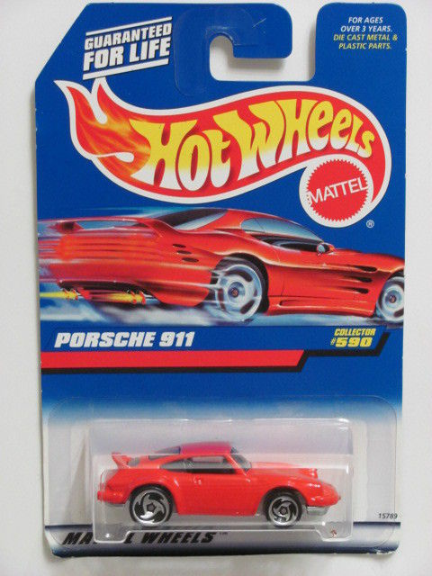 HOT WHEELS 1998 PORSCHE 911 #590 RED W/ SAWBLADE TIRES